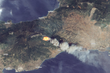 Wildfires in Greece near Kineta captured by the Sentinel 2 satellite on 23 July. Image: Copernicus.