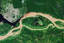 Rio Negro and the Solimões River meet to form the Amazon River in Brazil. Image: ESA