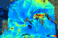One of the first images from the Copernicus Sentinel-5P mission shows nitrogen dioxide over Europe. Image: ESA.