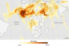 Aerosol Index, Sahara dust. Image courtesy of Jesse Allen, NASA Earth Observatory, using Suomi NPP OMPS data provided courtesy of Colin Seftor (SSAI)