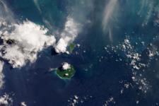 Anak Krakatau captured by the Operational Land Imager (OLI) on Landsat 8 on 13 April 2020. Image: NASA.