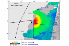 Coseismic displacement field from InSAR and GPS data. Image: Remote Sens. 2018, 10(6), 899; https://doi.org/10.3390/rs10060899