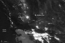 Satellite image Erskine Fire. NASA Earth Observatory, image courtesy of Jesse Allen, using VIIRS day-night band data from the Suomi National Polar-orbiting Partnership