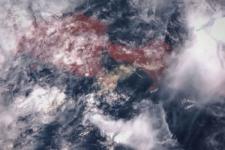 Bali, Indonesia. Mount Agung eruption. False color image. 28 November 2017. Based on Sentinel-3 data.