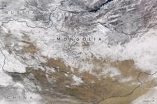 Image of snow across northern Mongolia in January 2017 captured by NASA's Aqua satellite. Image: Nasa Earth Observatory