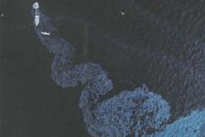 Mancha de petróleo del Argo Merchant, diciembre de 1976. Imagen: NASA.