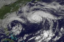 Image of Hurricane Joaquin over the Atlantic Ocean north of Bermuda taken by GOES East on October 5, 2015.